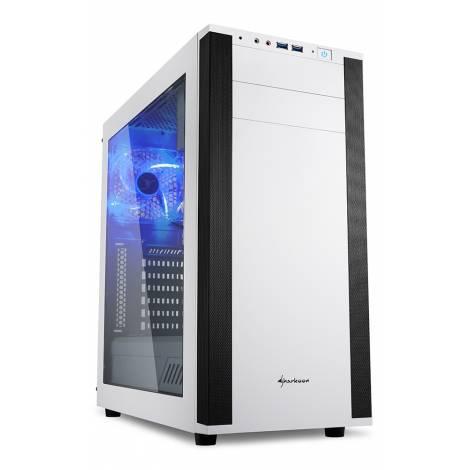SHARKOON PC CHASSIS M25-W WHITE, MIDI TOWER ATX, W/O PSU, 2x12CM FRONT FAN, 1x12CM REAR BLUE LED FAN, 2YW.