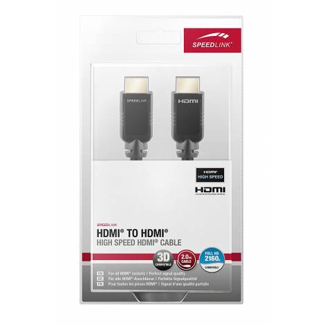 SPEEDLINK SL-1712-BK-200 , HDMI TO HDMI HIGH SPEED HDMI CABLE, 2M