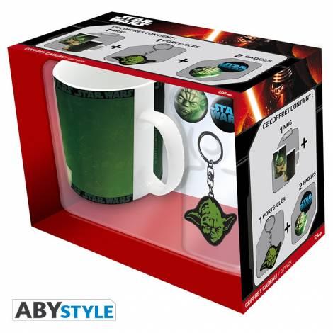 Star Wars - Yoda 460ml Mug + Yoda Kyechain + 2 Badges Gift Box (ABYPCK064)