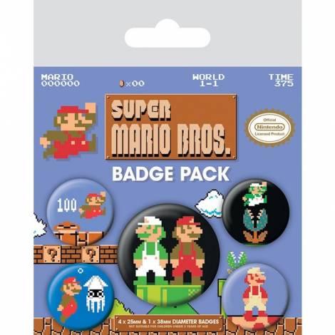 Pyramid Super Mario Bros Pin Retro Badge Pack (5 PINS) (BP80442)