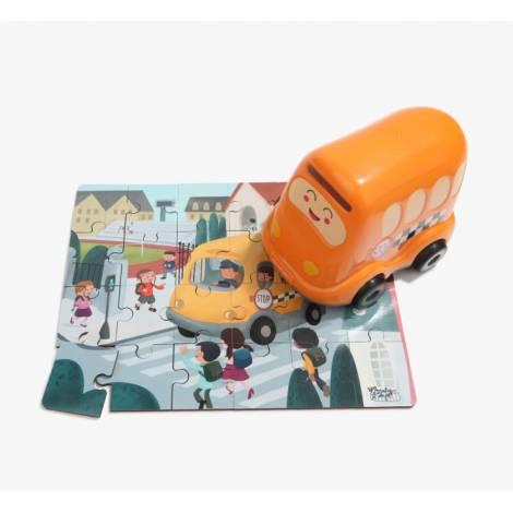 Top Bright Wooden Puzzles in School Bus (460006)