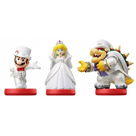 Triple Pack (Mario, Peach and Bowser Wedding Outfits) amiibo - Super Mario Odyssey