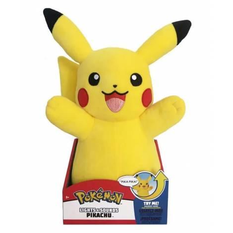 Wicked Cool Toys : Pokemon Lights & Sounds Pikachu 25εκ.  Λούτρινο  (JW000025)